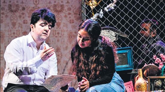 Amir, played by Nipun Dharmadhikari and Soraya, played by Muskkaan Jaferi, in a scene from 'The Kite Runner'. (HT)