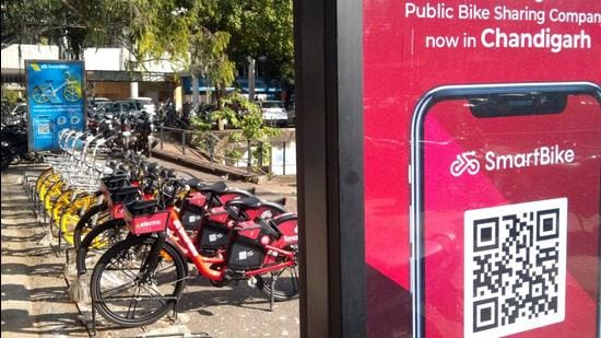 The public bike sharing project is being implemented and operated by the concessionaire Smart Bike Tech Private Limited, Hyderabad, for a period of 10 years. (HT FILE PHOTO)