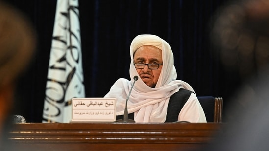 Taliban�s acting Higher Education Minister Abdul Baqi Haqqani speaks during a press conference in Kabul on September 12, 2021.(AFP)