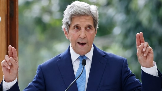 US Special Envoy for Climate John Kerry will also meet private sector leaders to discuss efforts to raise global climate ambition and speed India's clean energy transition, the US state department said in a statement on Saturday.(AFP)