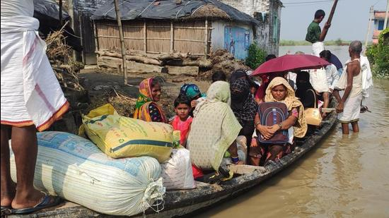 So far, the current spell of floods, which begun late May this year, has affected more than 15 lakh people of 359 panchayats of 73 blocks in 13 districts. (HT FIle)