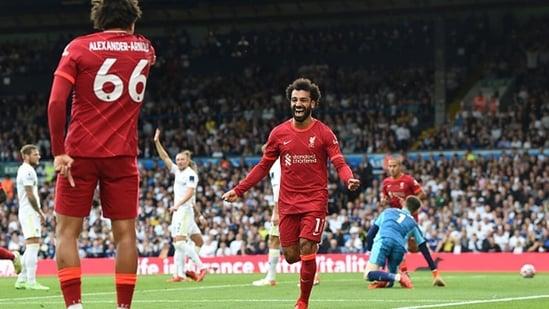 Mohamed Salah of Liverpool celebrates after scoring.(Getty)