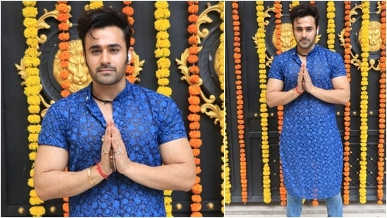 Actor, model Pearl V Puri went all desi as he arrived for the celebration in a blue printed kurta, denims and sneakers.(HT Photo/Varinder Chawla)