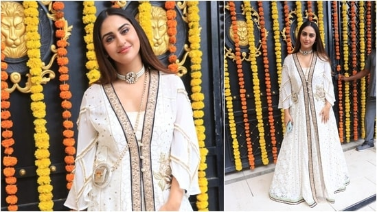 Krystle D'Souza is an epitome of royalty as she posed in a long white embellished Indian attire.(HT Photo/Varinder Chawla)