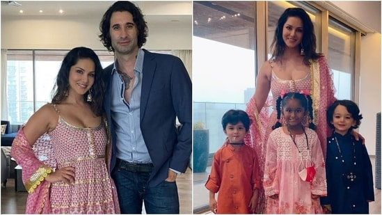 Sunny Leone took to Instagram to share snippets from her Ganesh Chaturthi celebrations with her husband Daniel Weber and three kids Nisha, Noah and Asher. The family posed wearing incredible ensembles for the special occasion. However, it was Sunny's ethnic look that stole the show.(Instagram/@sunnyleone)