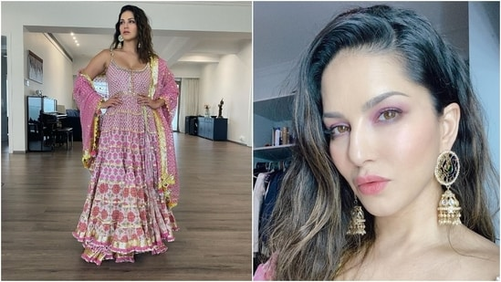 Sunny wore statement-worthy gold drop earrings to accessorise the ethnic look. The star left her locks open in a side parting, and for glam, went with a glossy pink lip shade, blush pink shimmery eye shadow, blushed cheeks and glowing skin.(Instagram/@sunnyleone)