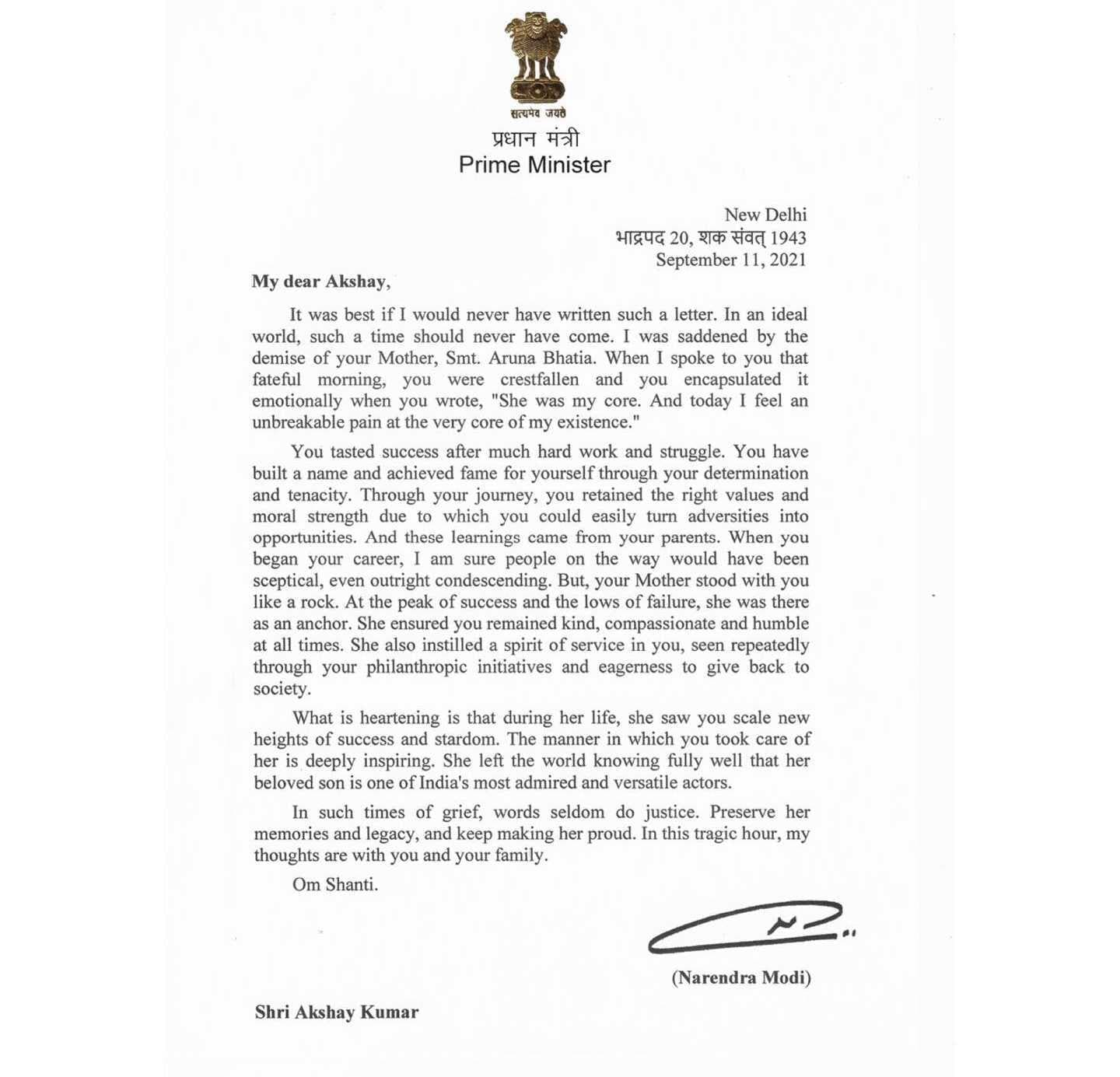 Akshay Kumar responds to Prime Minister Modis' letter: what to do when the heat of certain words leaves you speechless