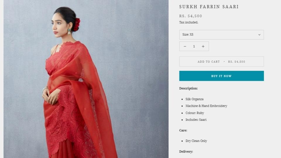 The Surkh Farrin Saree.(torani.in)