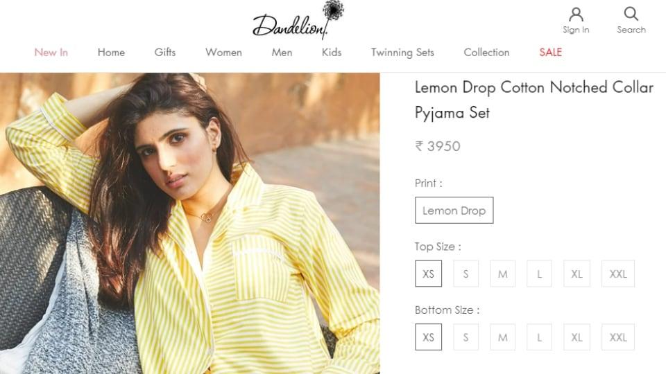 Kareena Kapoor's Dandelion pyjama set.(dandeliondream.co)