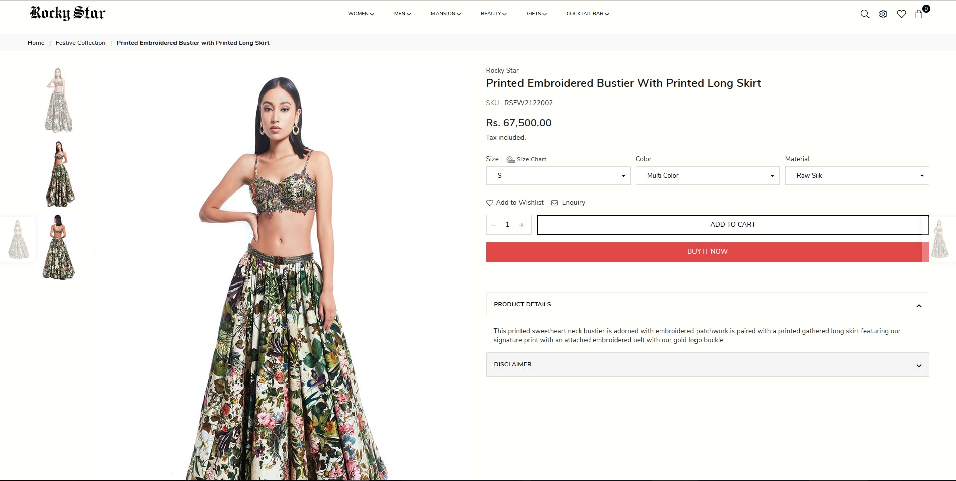 Manushi Chhillar in printed embroidered bustier with printed long skirt from Rocky Star(rockystarworld.com)