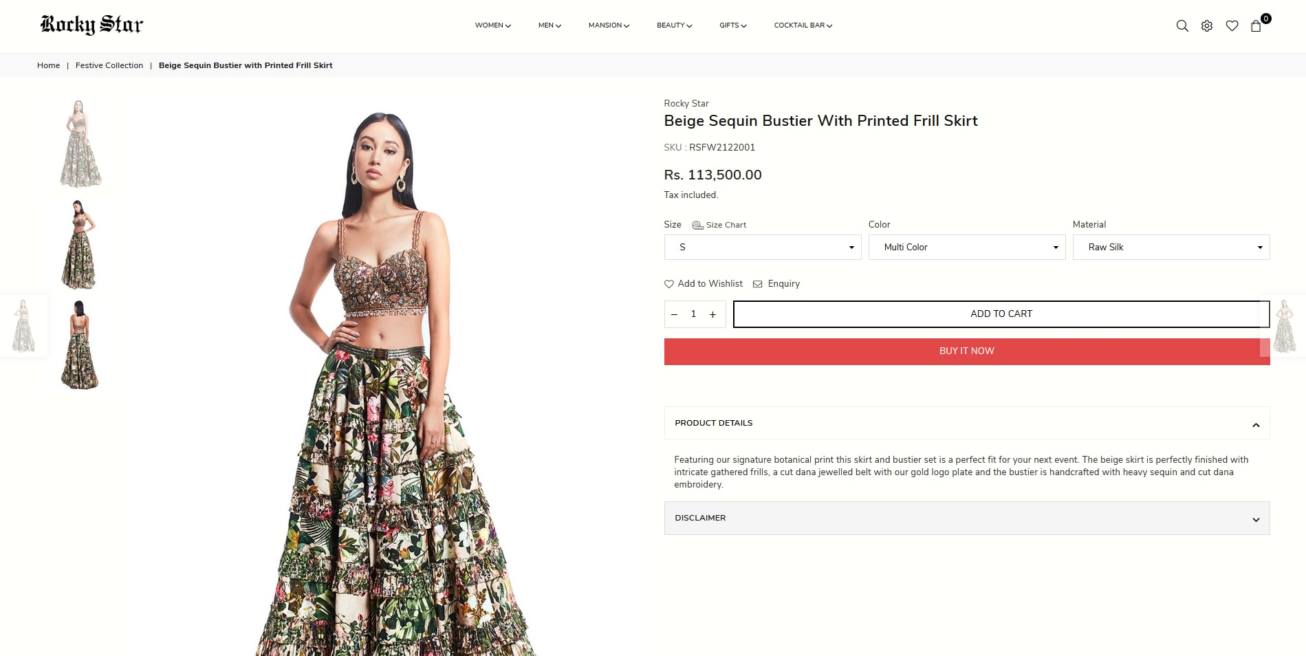 Manushi Chhillar in beige sequin bustier with printed frill skirt from Rocky Star(rockystarworld.com)