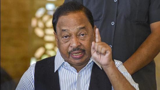 Union minister Narayan Rane addresses a press conference at his residence at Juhu in Mumbai on August 25. (PTI)