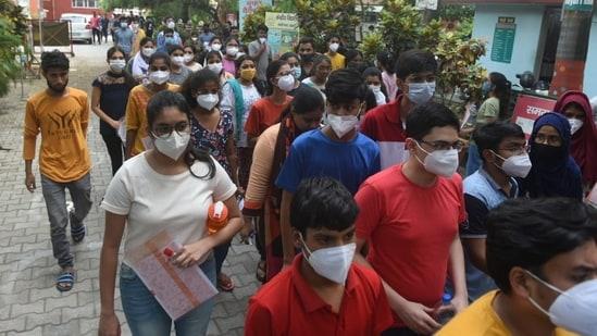 NEET 2021: Candidates coming out from examination centre after taking the NEET exam at Kendriya Vidyalaya, Gomti Nagar, in Lucknow, on Sunday.(HT_PRINT)