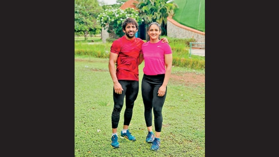Bajrang Punia and Sangeeta Phogat love to train together.