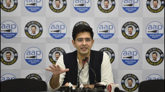 AAP leader Raghav Chadha tweeted that the party will hold a press conference on the ED notice. (HT archive)