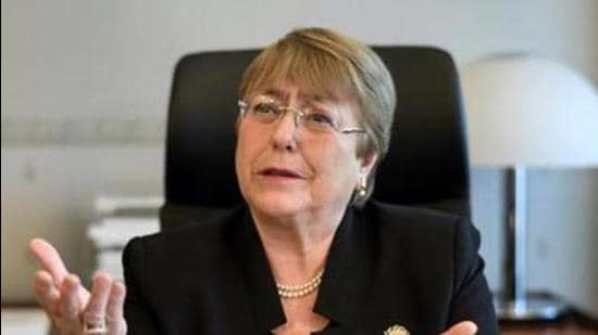 UNHRC chief Michelle Bachelet was making her opening statement at the 48th session of the UN Human Rights Council in Geneva. (Archive)