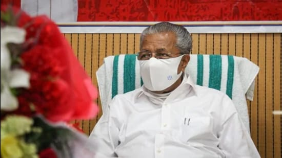 Kerala chief minister Pinarayi Vijayan addressed a press conference on Friday on the latest Covid-19 situation in the state. (HT File Photo)