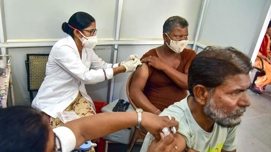 A Covid-19 vaccination centre in Rajasthan's Bikaner (PTI)