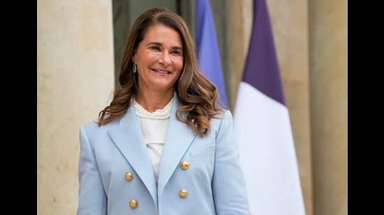FILE - In this Thursday, July 1, 2021, file photo, Melinda Gates, co-chair of the Bill and Melinda Gates Foundation, poses for photographers as she arrives for a meeting after a meeting on the sideline of the gender equality conference at the Elysee Palace in Paris. Philanthropists Melinda French Gates, MacKenzie Scott and the family foundation of billionaire Lynn Schusterman awarded $40 million Thursday, July 29, 2021, to four gender equality projects. (AP Photo/Michel Euler, File) (AP)