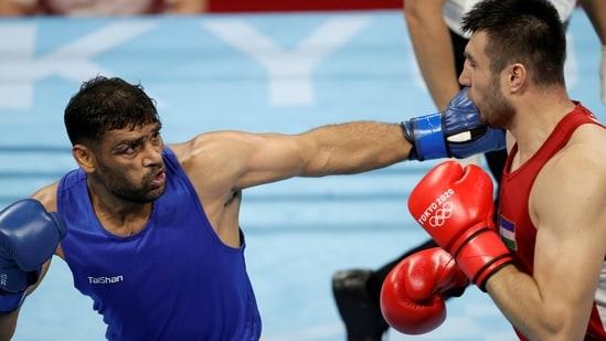 Still from India boxer Ashish Kumar's Quarterfinal bout at Tokyo Olympics 2020(REUTERS)