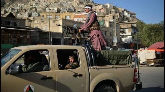 Taliban fighters patrol along a street in Kabul on Monday. The United States, secretary of state Antony Blinken said, is reviewing its relationship with Pakistan, which is a major non-Nato ally, in view of its role in Afghanistan over the last 20 years. (AFP)