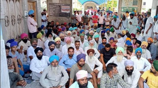 The Barnala sarpanch had joined the BJP in Chandigarh on Monday, sparking a farmers protest at the village gurdwara. (HT Photo)