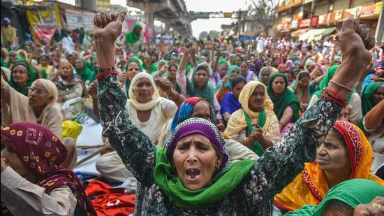 Women from Punjab and Haryana participate in farmers' protest against the Centre's new farm laws at Tikri Border in Delhi on March 8. (File photo)