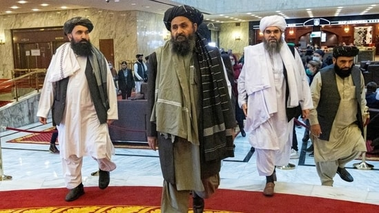 Mullah Abdul Ghani Baradar, the Taliban's deputy leader and negotiator, and other delegation members attend the Afghan peace conference in Moscow.(REUTERS)