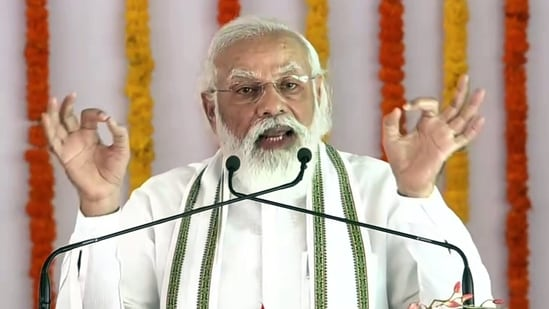 Prime Minister Narendra Modi addresses during the stone laying foundation ceremony of Raja Mahendra Pratap Singh University, in Aligarh on Tuesday.(ANI Photo)