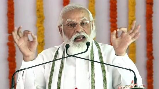 PM Narendra Modi addresses during the stone laying foundation ceremony of Raja Mahendra Pratap Singh University, in Aligarh on Tuesday.(ANI Photo)