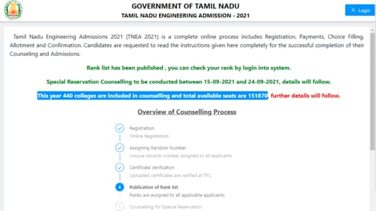 TNEA 2021: Candidates who applied for the counselling process can check their rank on the official website of TNEA at tneaonline.org.(tneaonline.org)