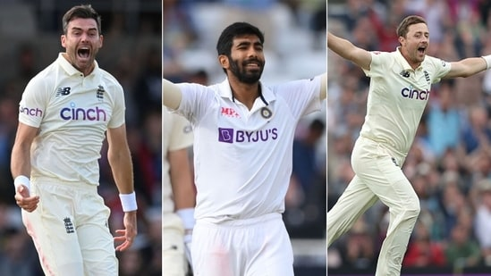 From Left: James Anderson, Jasprit Bumrah and Ollie Robinson were the standout bowlers of the Test series.(Getty Images)