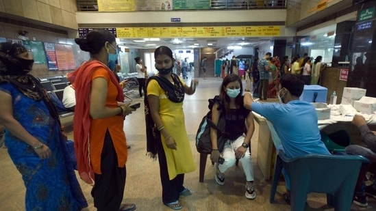 A woman being vaccinated against Covid-19 at Sector 30 district hospital, in Noida on September 9. (HT file)