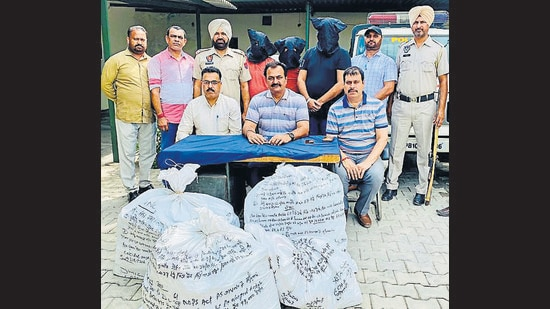 Two of the accused are history sheeters in drug peddling cases, and the third person is a chemist in Ludhiana. (HT Photo)