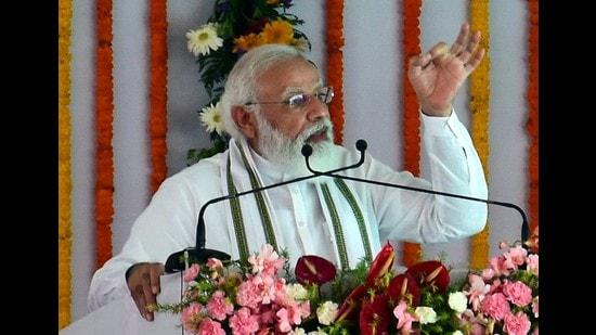 PM Narendra Modi addressing a gathering in Lodha, Aligarh where he laid the foundation stone of Raja Mahendra Pratap Singh State University on Tuesday. (HT photo)