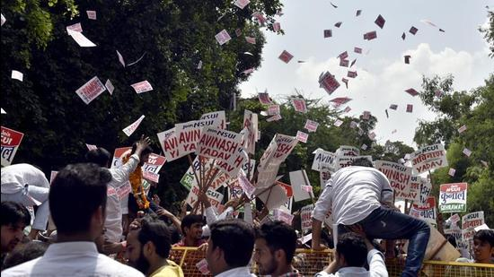 Campaign for DUSU election 2017 at North Campus, DU, in New Delhi on September 6, 2017. (HT archive)