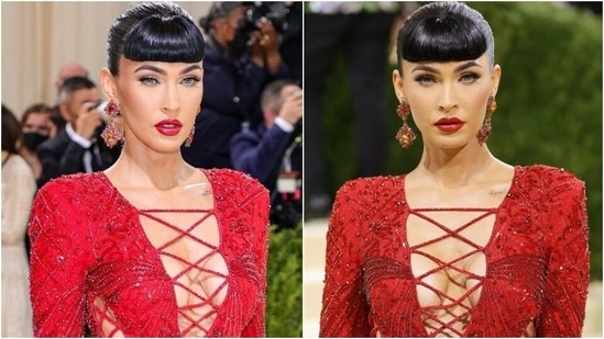 Met Gala 2021: Megan Fox burns the red carpet in sexy red lace-up gown with thigh-slit(Instagram/@_metgala2021)