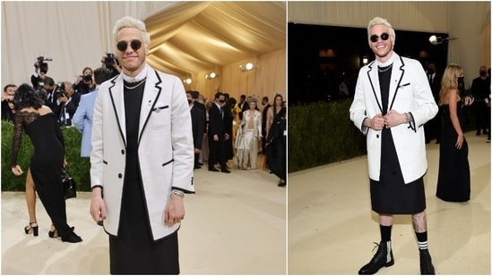 Comedian-actor Pete Davidson appeared on the fashion show wearing a longline Thom Browne suit and kilt.(AFP)