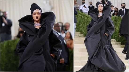 Met Gala queen, Rihanna, showed up late in a huge black Balenciaga look and hat accompanied by A$ap Rocky in a multicoloured quilted number. She wore over 267 carats of Bulgari diamonds, including two choker necklaces.(AFP)