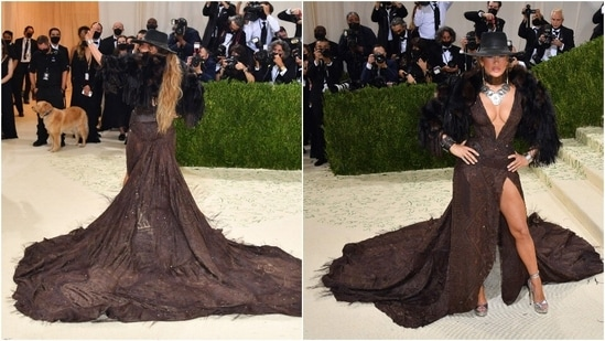 Ralph Lauren dressed Jennifer Lopez in fur with a brown look in her signature plunge at the neck and high slit, a wide-brimmed Western-style hat on her head.(AFP)