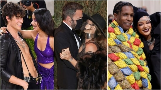 Met Gala 2021, fashion's biggest night out, saw some of the most iconic looks from celebrities on the red carpet at the Metropolitan Museum of Art in New York City. However, apart from serving us megawatt looks, the celebrity couple's also packed in some PDA at the America-themed event. From Camila Cabello and Shawn Mendes to JLo and Ben Affleck to Rihanna and A$AP Rocky, here are some awe-worthy moments.(Instagram)