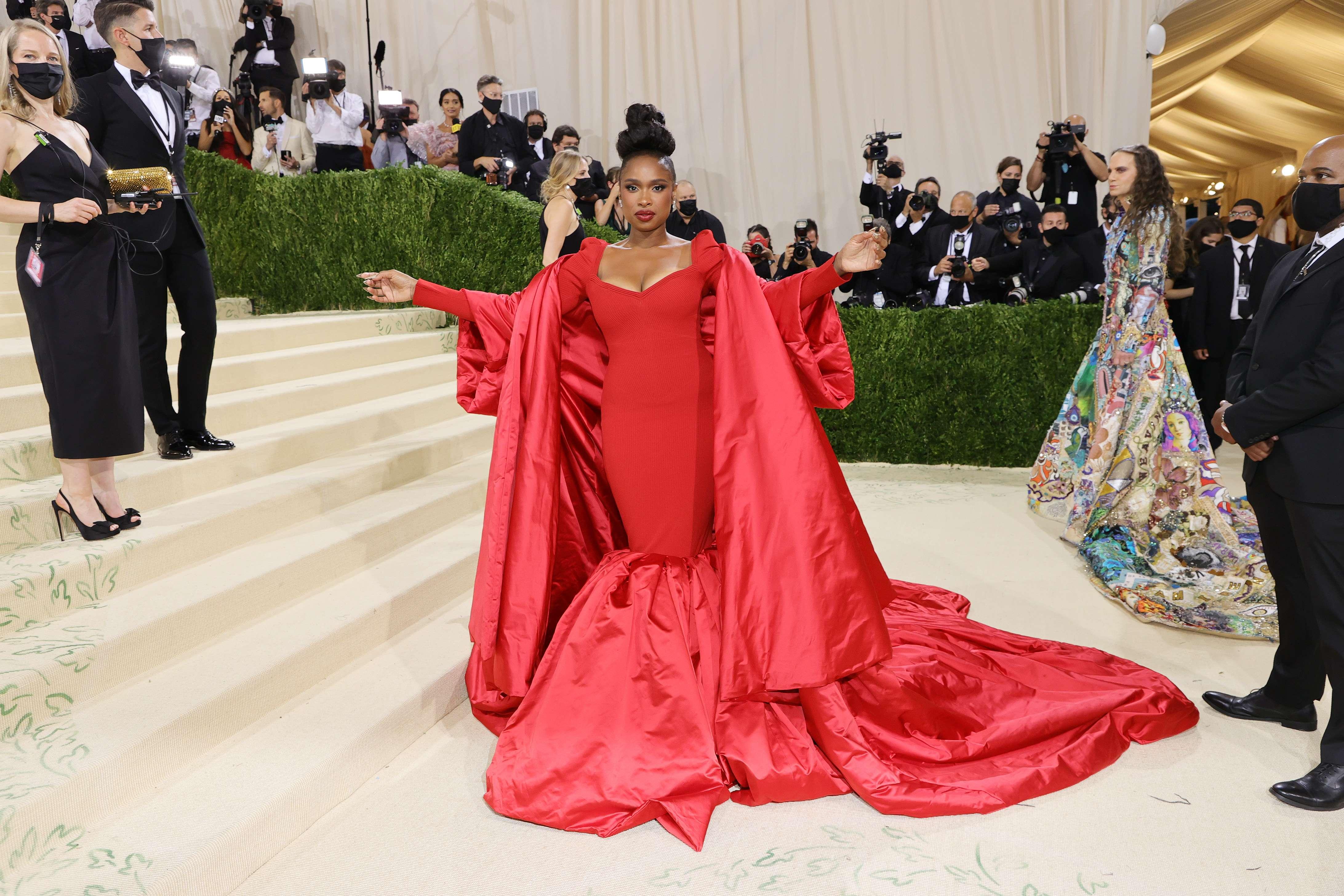 Jennifer Hudson was also on the Met Gala 2021 red carpet.  (AFP)