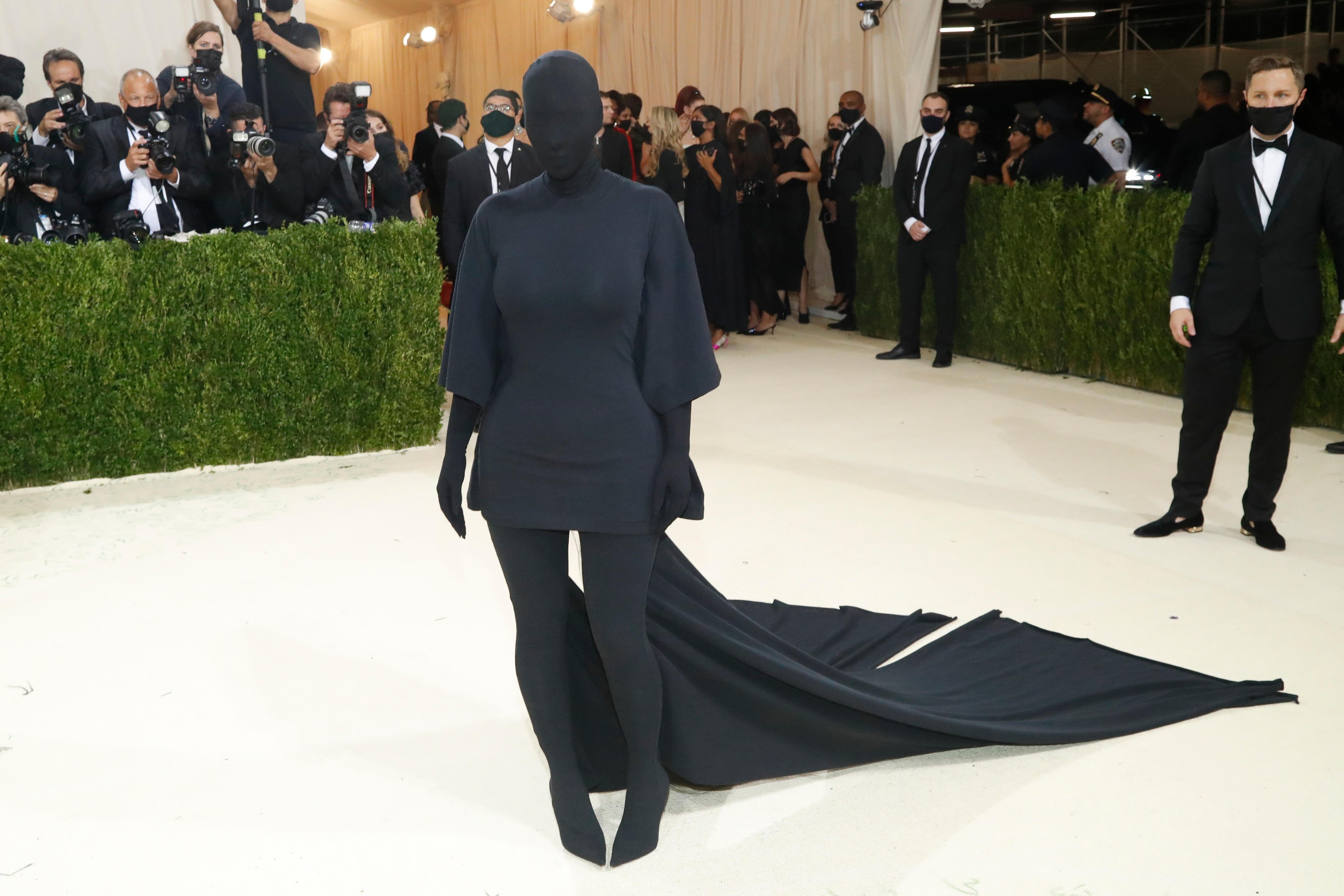 Kim Kardashian opted for an all-black ensemble.  (Reuters)