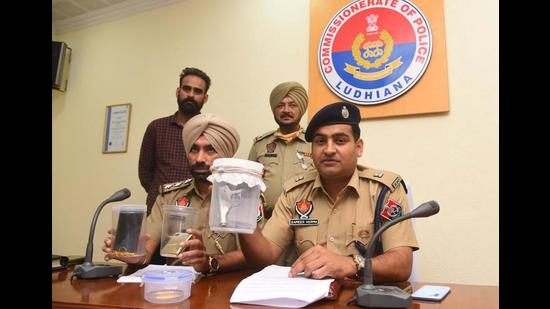 Additional deputy commissioner of police (ADCP-3) Sameer Verma addressing the media regarding the carjackers' gang at Single Window in Ludhiana on Wednesday. (Gurpreet SIngh/HT)