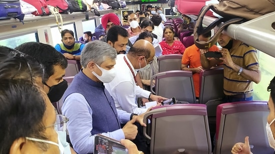 Union Railway Minister Ashwini Vaishnaw travels in Vande Bharat Express from Katra to Jammu and interacts with the passengers to know their traveling experience, in Jammu. (ANI Photo)(Shanky Rathore)