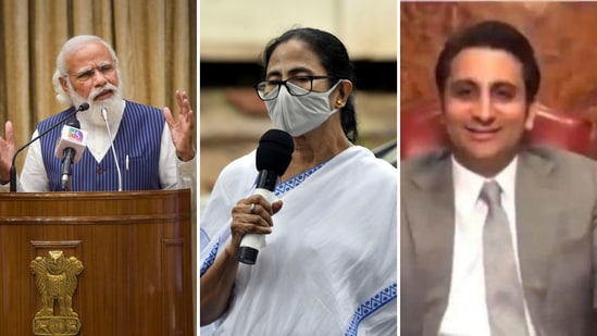 Prime Minister Narendra Modi, West Bengal chief minister Mamata Banerjee and Serum Institute of India's chief executive officer Adar Poonawalla.(Agencies)