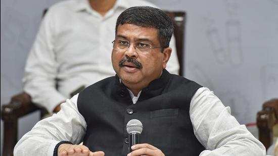 Union minister Dharmendra Pradhan will speak on the National Education Policy 2020 and the role of technology in the future of education on Thursday. (PTI)