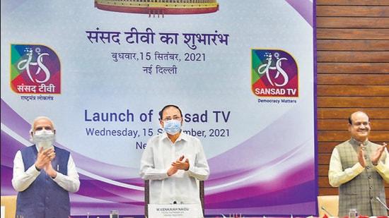 Prime Minister Narendra Modi, vice president M Venkaiah Naidu and Lok Sabha speaker Om Birla at the launch of Sansad TV, at Parliament House Annexe in New Delhi on Wednesday. (PTI)