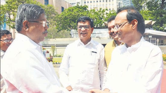 At this high-stakes table sit the BJP, the NCP, the Congress party and the Shiv Sena as the Pune municipal corporation goes to polls in February 2022. (Arvind Kharat/HT FILE PHOTO)