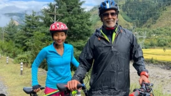 Milind Soman and Ankita Konwar cycle 65km from Baramulla to Uri in a day, fans say wow(Instagram/@milindrunning)